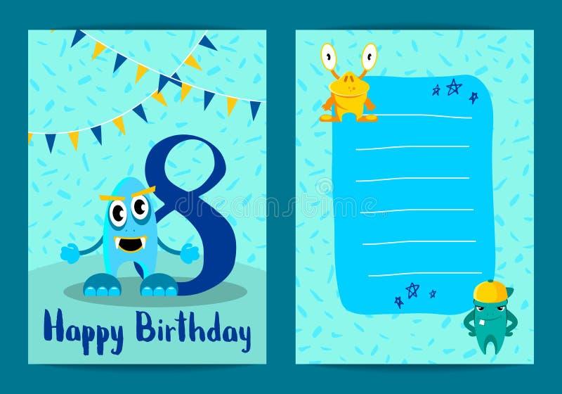Kort för lycklig födelsedag för vektor med gulliga tecknad filmmonster och nummer för ålder åtta stock illustrationer