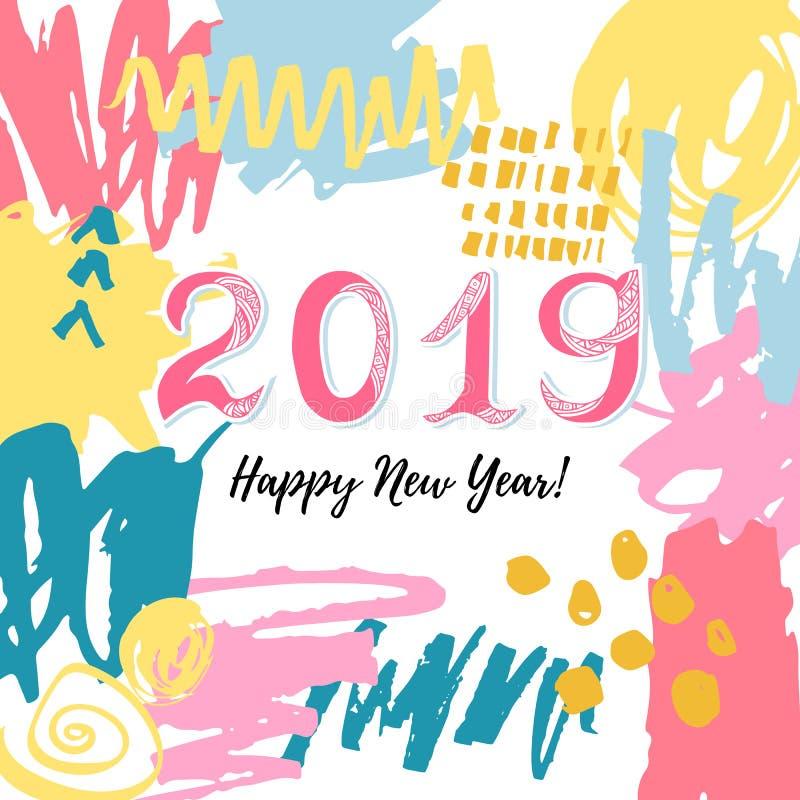 Kort för lyckligt nytt år 2019 stock illustrationer