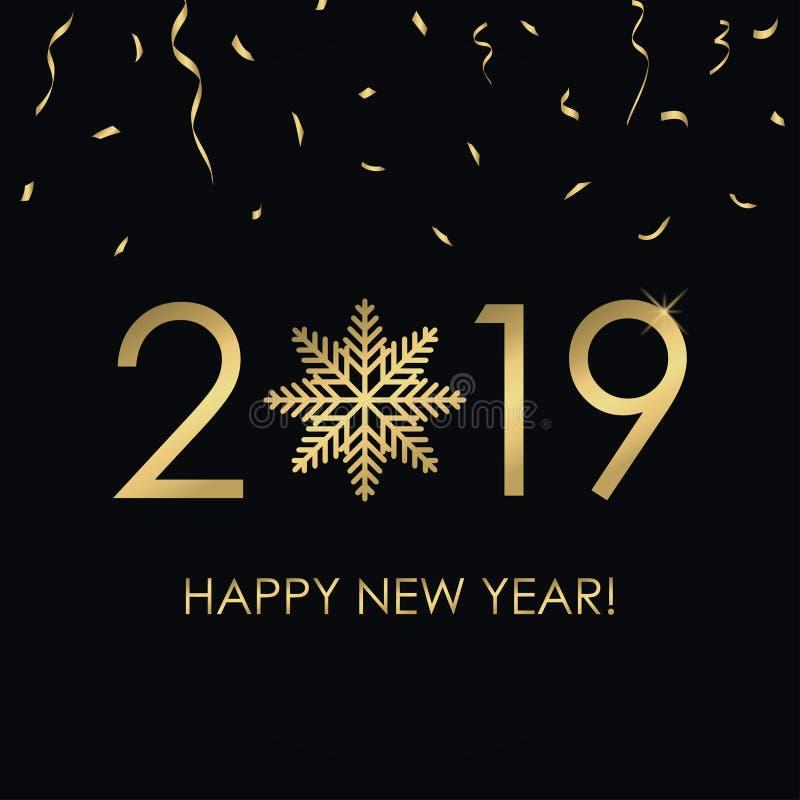 Kort för lyckligt nytt år 2019 med guldnummer och snöflingan, guld- konfettier Ferieaffisch, baner vektor stock illustrationer