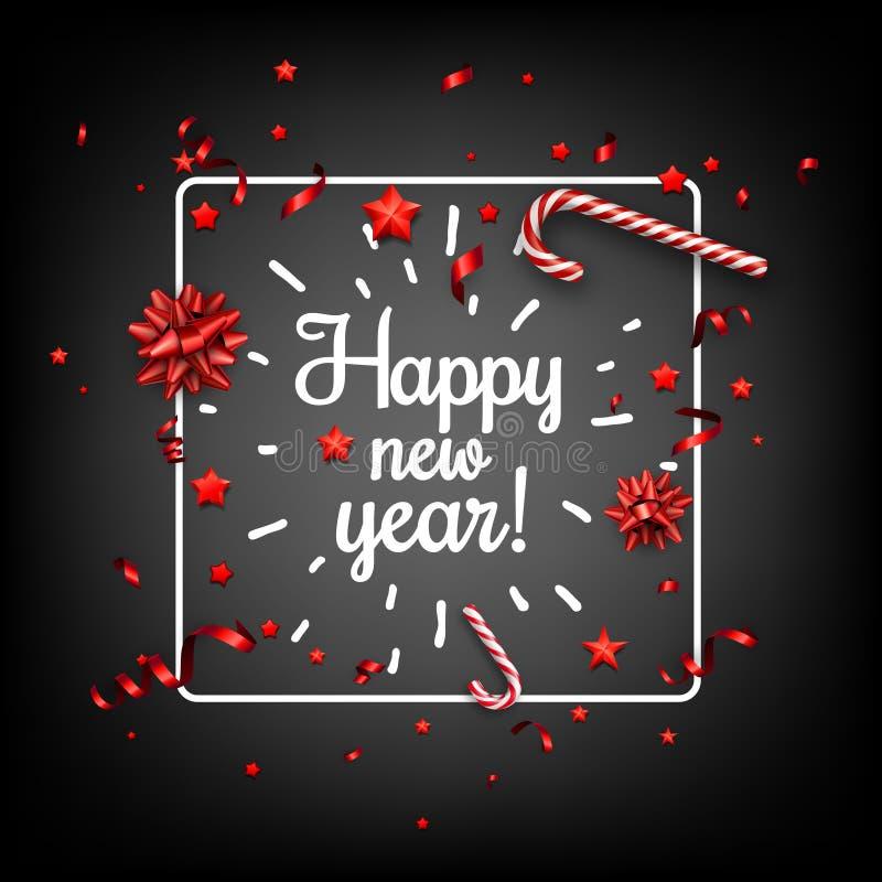 Kort för lyckligt nytt år med konfettier stock illustrationer