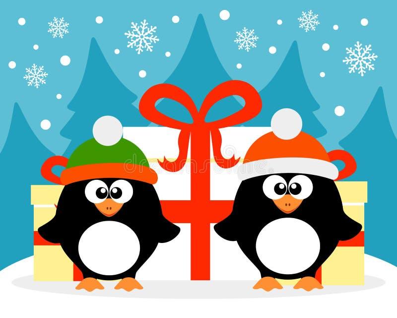 Kort för lyckligt nytt år med pingvinet Santa Claus och pingvinälvan vektor illustrationer
