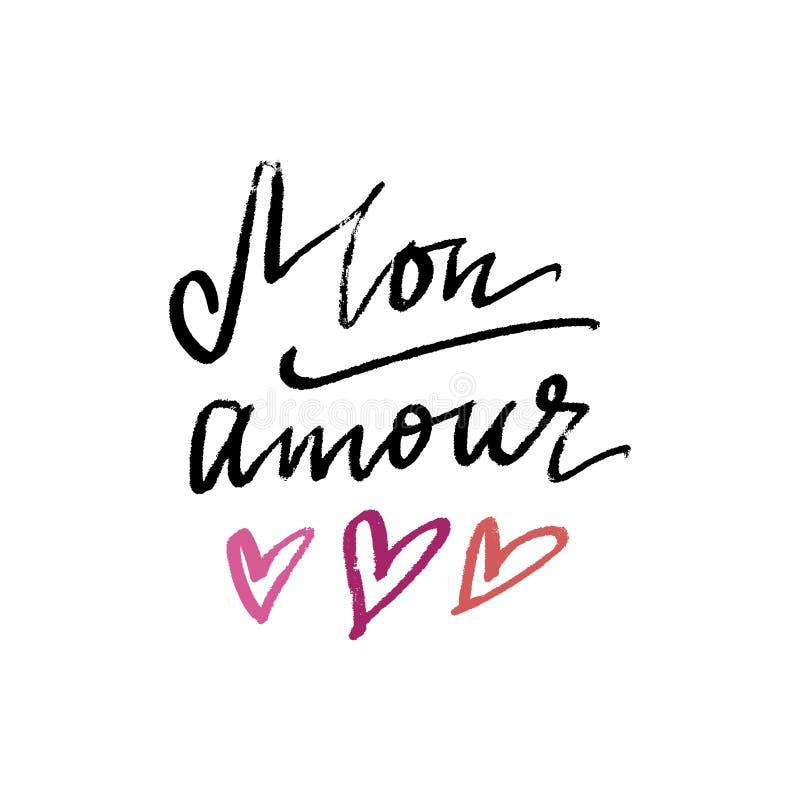 Kort för måndag kärleksaffärbokstäver och utdragen hjärtaillustration för hand royaltyfri illustrationer