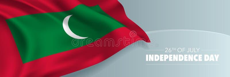 Kort för Maldiverna lyckligt självständighetsdagenhälsning, baner med illustrationen för malltextvektor vektor illustrationer