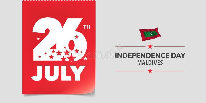 Kort för Maldiverna lyckligt självständighetsdagenhälsning, baner, vektorillustration vektor illustrationer