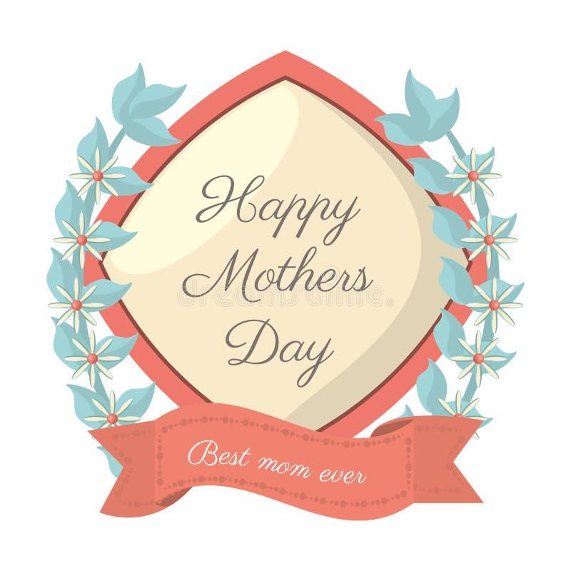Kort för mamma för lyckliga mödrar dag-bästa någonsin vektor illustrationer