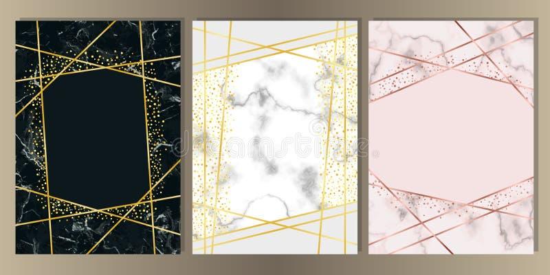 Kort för marmor A4 med den guld- linjen uppsättning vektor illustrationer