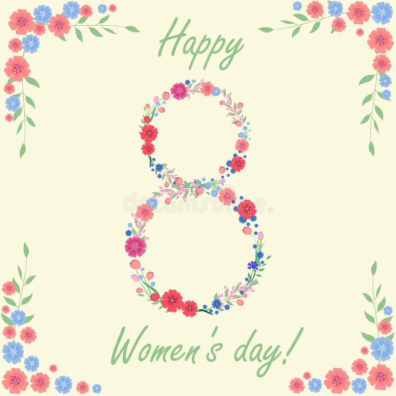 Kort för marsch för dag för kvinna` s 8 med blommor och sidor royaltyfri illustrationer