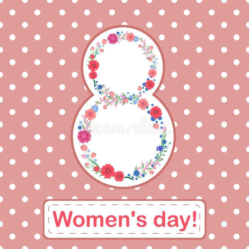 Kort för marsch för dag för kvinna` s 8 med blommor och sidor på en rosa bakgrund royaltyfri illustrationer