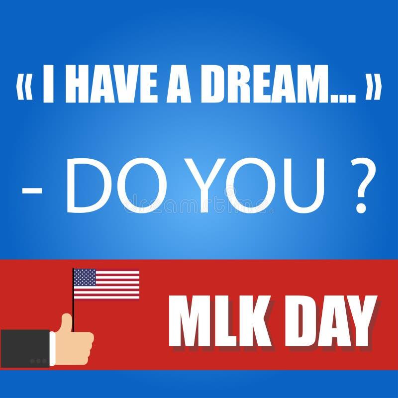 kort för Martin Luther King yngre daghälsning royaltyfri illustrationer