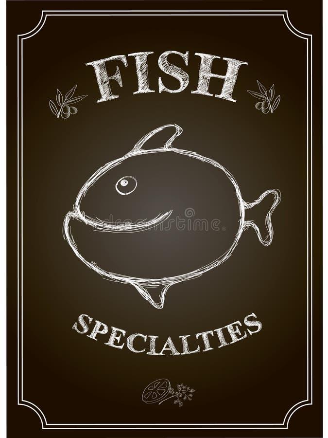 Kort för meny för restaurang för vektorsvart tavlafisk stock illustrationer