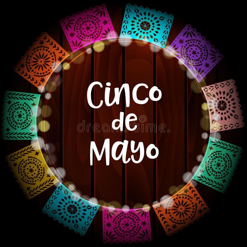 Kort för mexikanCinco de Mayo hälsning, inbjudan Festa garnering, krans av ljus, handgjorda snittpappersflaggor gammalt vektor illustrationer