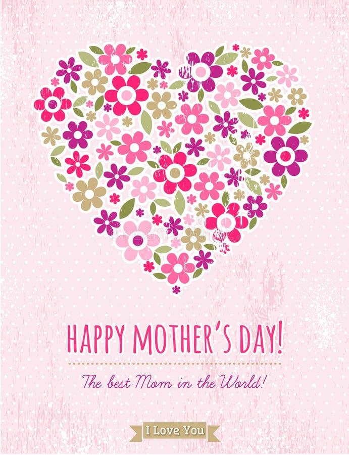 Kort för moderdag med hjärta av blommor på rosa bakgrund royaltyfri illustrationer