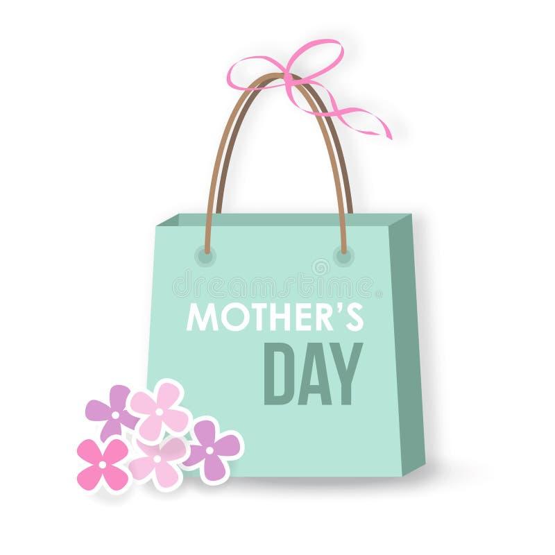 Kort för moderdag, symbol, gåva, shoppingpåse, stock illustrationer