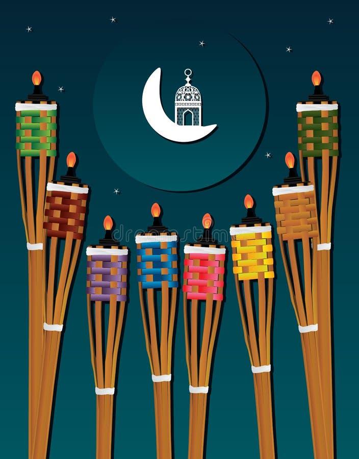 Kort för natt för Ramadan Obor Puluh Pelita mittetikett stock illustrationer