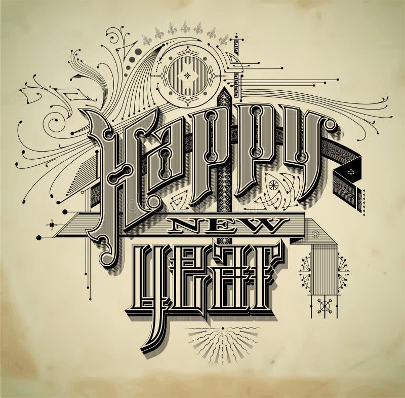 Kort för nytt år för tappningstil vektor illustrationer