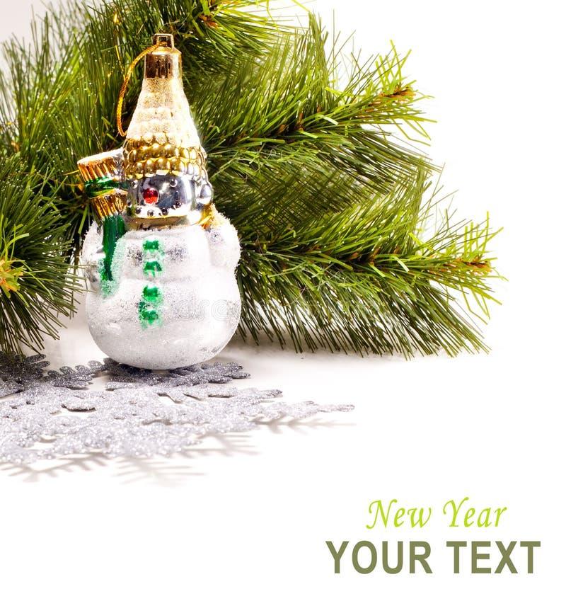 Kort För Nytt år Med Den Härliga Snowmanen Royaltyfri Foto