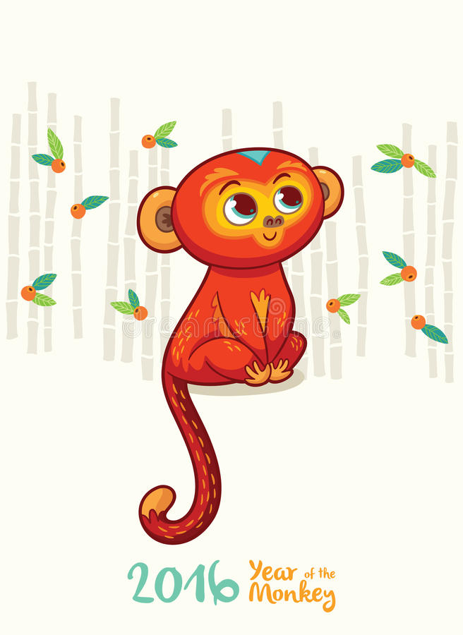 Kort för nytt år med den röda apan för året 2016 royaltyfri illustrationer