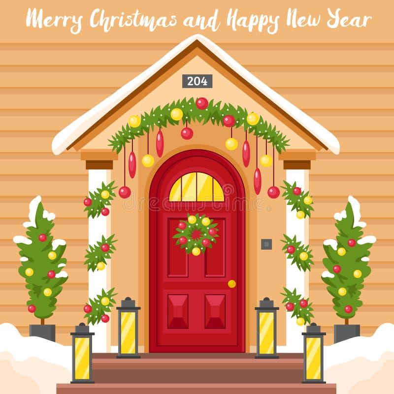 Kort för nytt år med huset som dekoreras för jul royaltyfri illustrationer