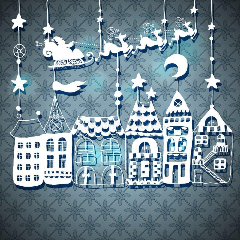 Kort för nytt år med jultomten vektor illustrationer