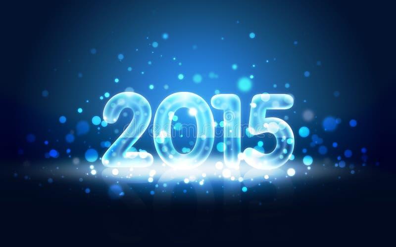 Kort för nytt år 2015 med neonsiffror royaltyfri illustrationer