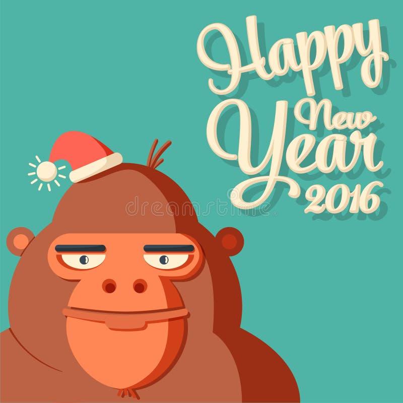 Kort för nytt år med symbol - apa och kalligrafi 2016 royaltyfri illustrationer