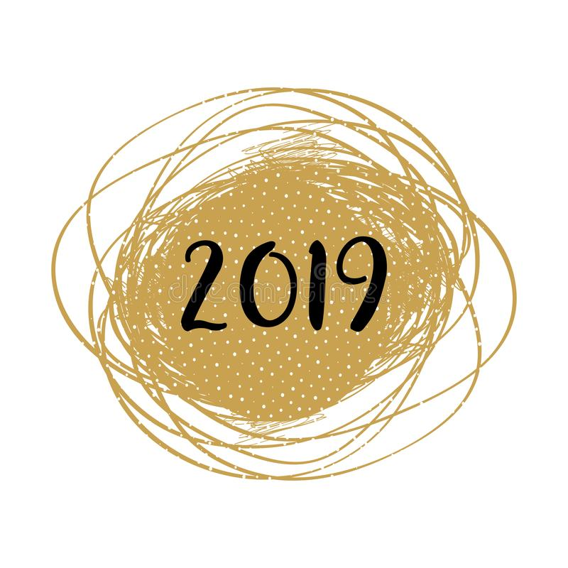 Kort för nytt år 2019 Modernt klottra den guld- ramen med bokstäver för 2019 nummer Minsta julkort, guld- bakgrund royaltyfri illustrationer