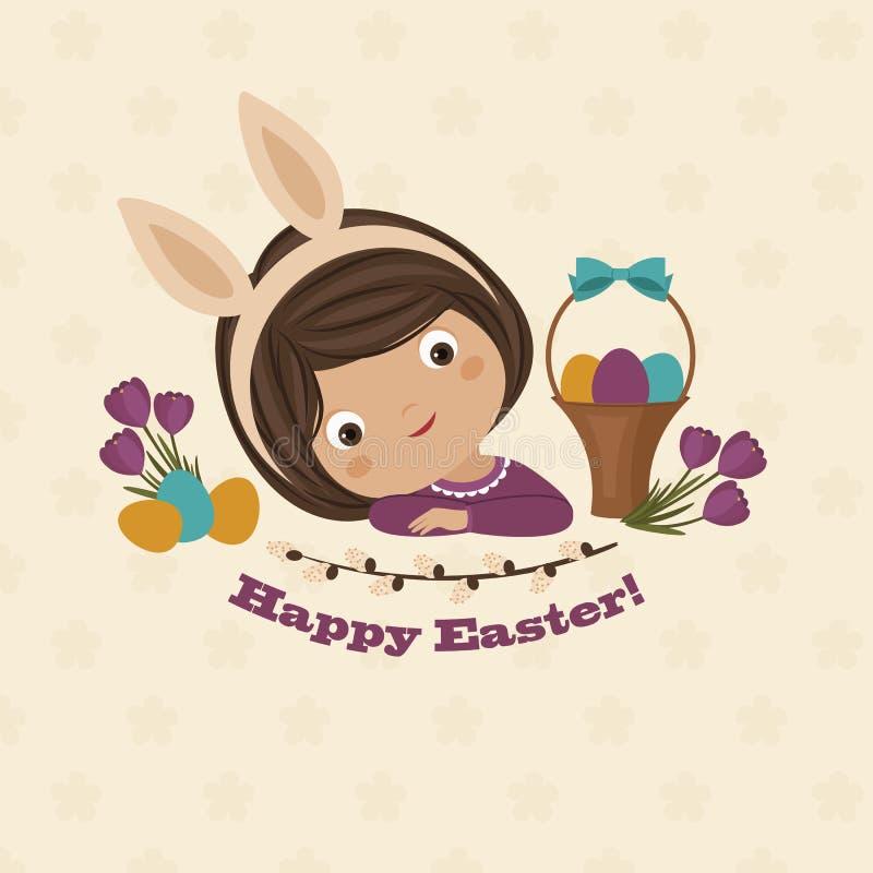 Kort för påskdaghälsning med lilla flickan royaltyfri illustrationer
