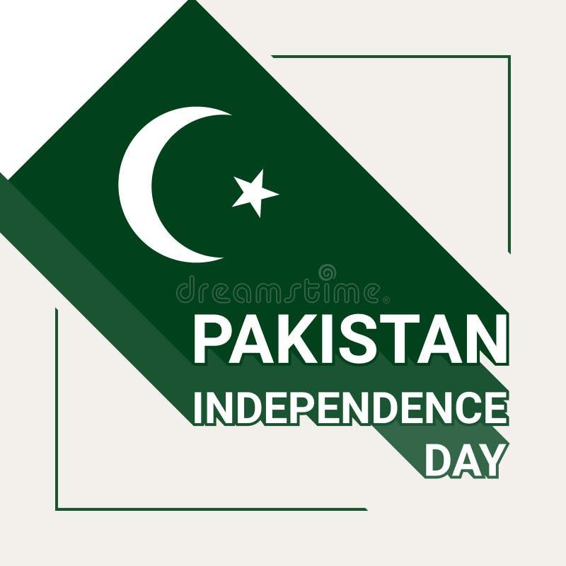 Kort för Pakistan självständighetsdagenhälsning med den pakistanska flaggan stock illustrationer