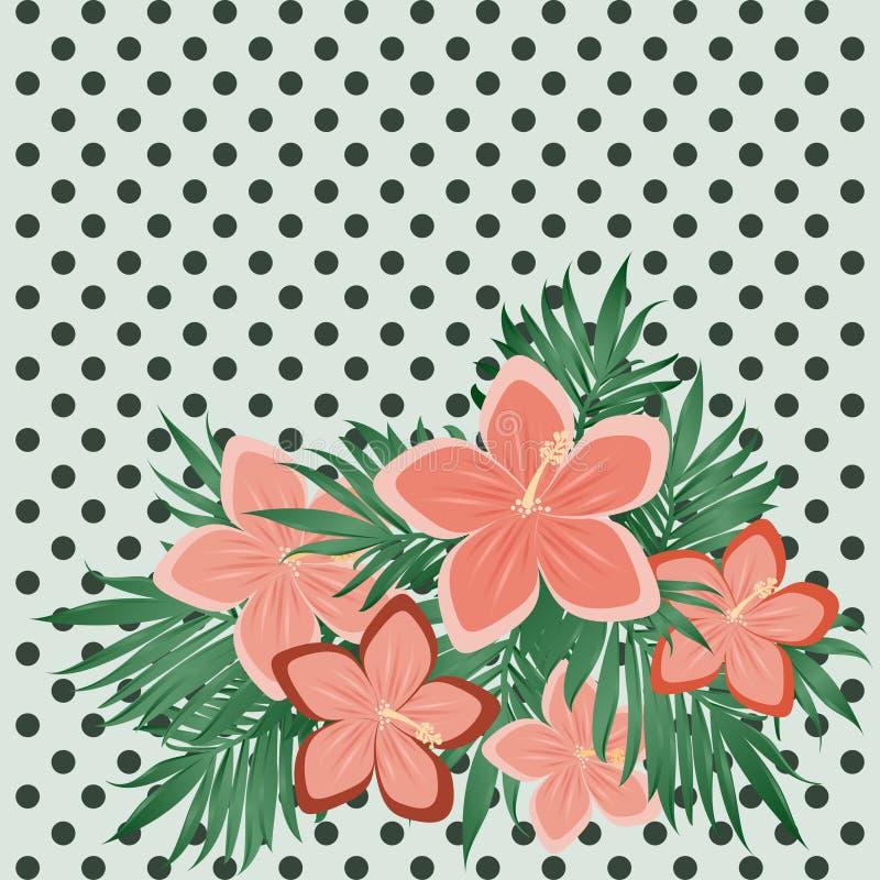 Kort för polka för tappningmode blom-, vektor royaltyfri illustrationer
