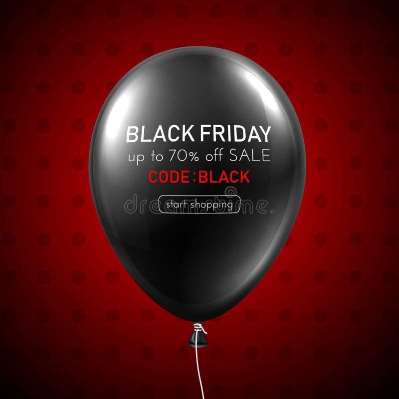 Kort för promo för svart fredag försäljning rött med den svarta ballongen 3d stock illustrationer