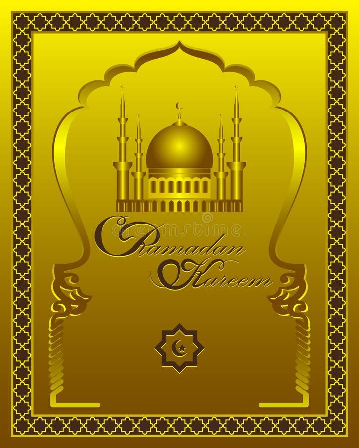 Kort för Ramadan Kareem guld- modellhälsning Islamisk bakgrund för vektor med modellen, moskékupolen och de traditionella prydnad vektor illustrationer