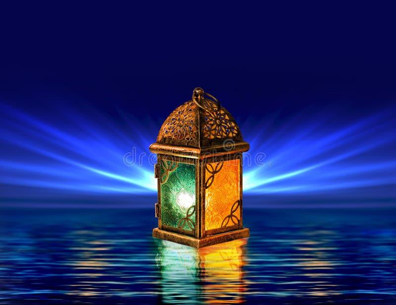 Kort för Ramadanlyktahälsning med blå bakgrund royaltyfria bilder