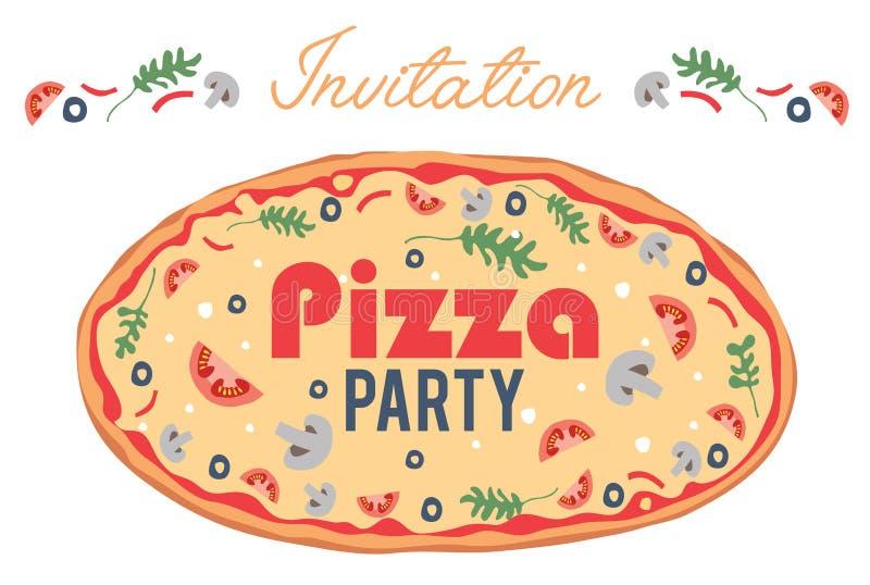 Kort för reklamblad för affisch för inbjudan för vektorpizzaparti royaltyfri illustrationer