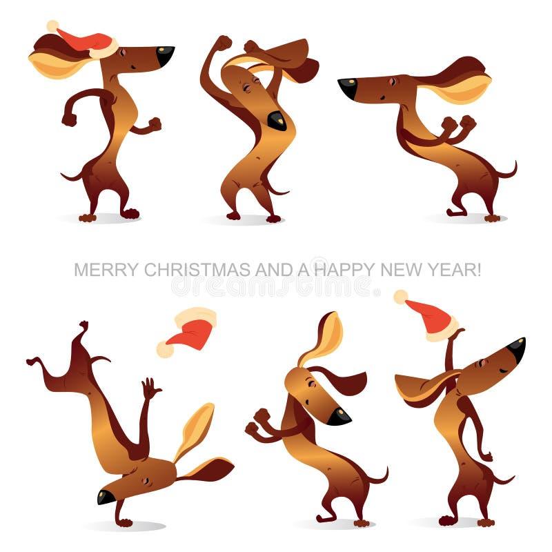 Kort för ` s för nytt år med rolig danshundkapplöpning stock illustrationer