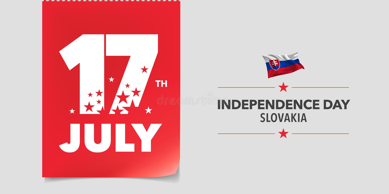 Kort för Slovakien lyckligt självständighetsdagenhälsning, baner, vektorillustration royaltyfri illustrationer