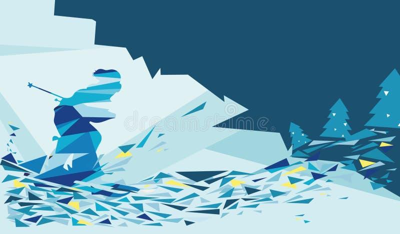 Kort för snöskidåkninghälsning stock illustrationer