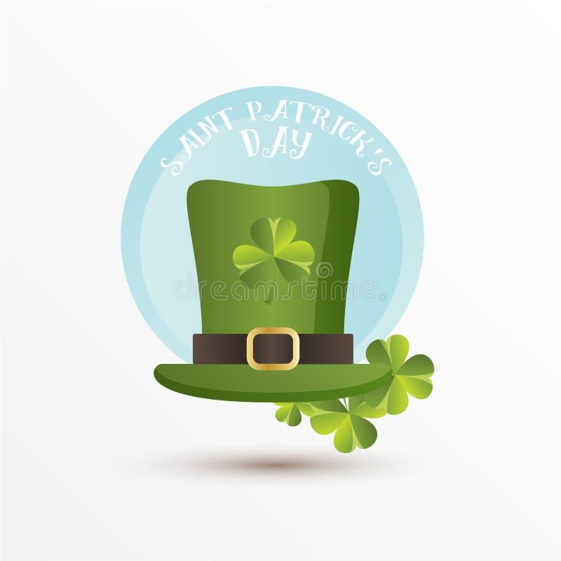 Kort för St Patrick Day Trollhatt och treklöversidorna Rolig stil för tecknad film vektor illustrationer