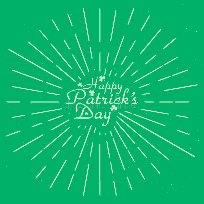 Kort för St-patricksdag med grunge som isoleras på grön bakgrund EPS10 också vektor för coreldrawillustration stock illustrationer