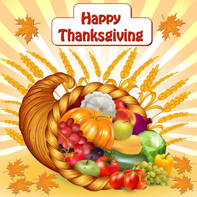 Kort för tacksägelse med en ymnighetshorn av frukter och grönsaken stock illustrationer
