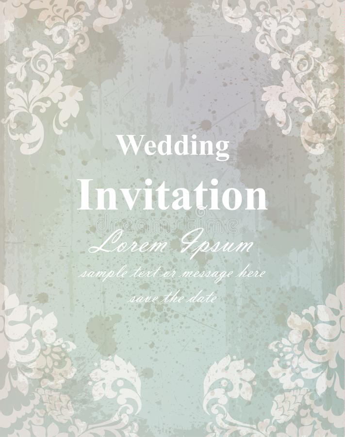 Kort för tappningbröllopinbjudan Barock kunglig dekor Gamla pappers- effektstilar vektor illustrationer