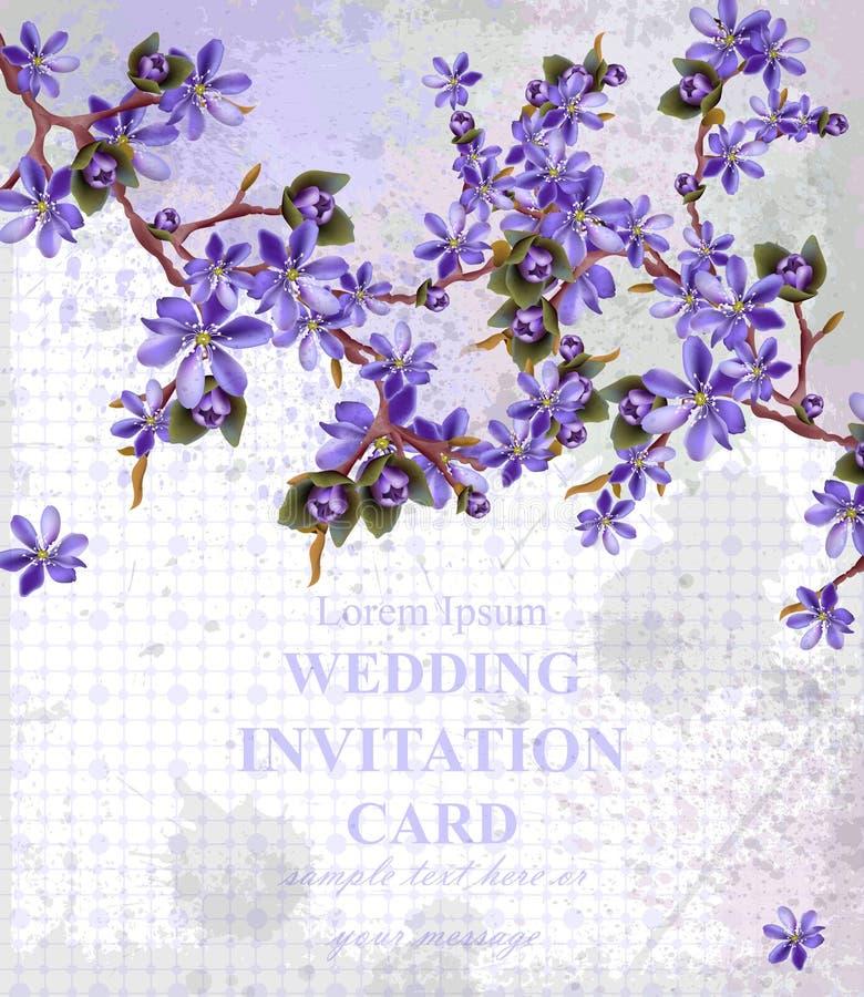 Kort för tappningbröllopinbjudan med den purpurfärgade blommavektorn Härliga ramdekorer stock illustrationer