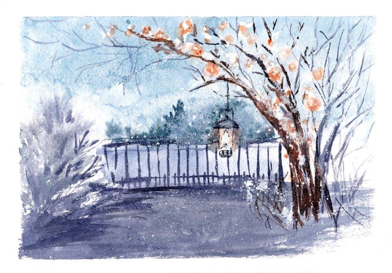 Kort för tappningvattenfärghälsning med snöflingor Hemtrevligt bygdvinterlandskap Sagaskogillustration stock illustrationer