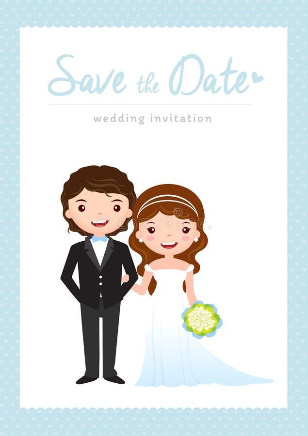 Kort för tecknad filmbröllopinbjudan stock illustrationer
