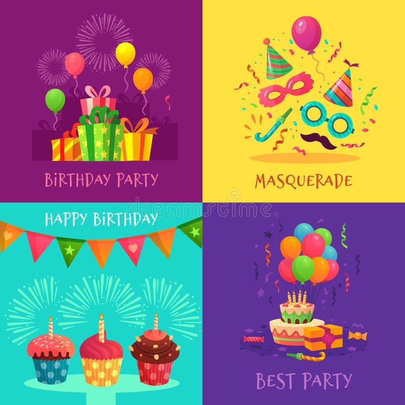 Kort för tecknad filmpartiinbjudan Berömkarnevalmaskeringar, garneringar för födelsedagparti och färgglad muffinvektor vektor illustrationer