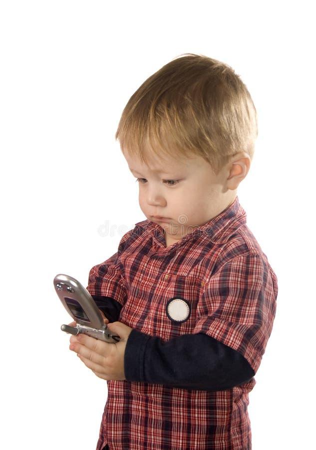 kort för telefon för pojke bläddra lilla royaltyfri bild