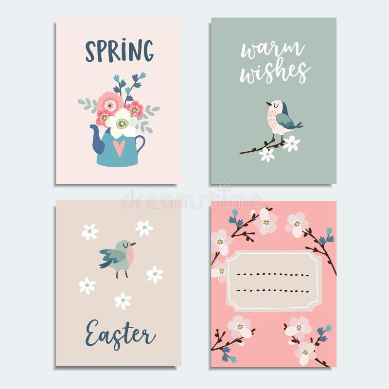 Kort för uppsättning av den gulliga våren, påskhälsning, inbjudningar med blommor, körsbärsröda blomningar, fåglar och te lägger  royaltyfri illustrationer