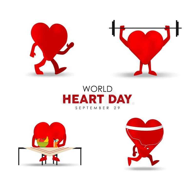 Kort för världshjärtadag för övning och näring vektor illustrationer