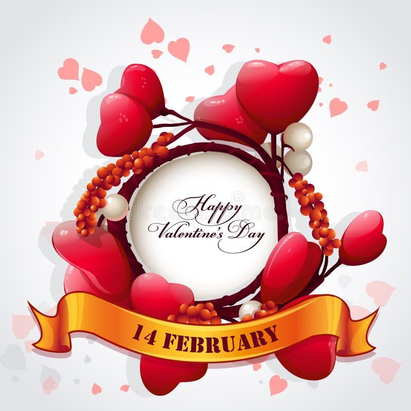 Kort för valentin dag med hjärtor och ett festligt band vektor illustrationer