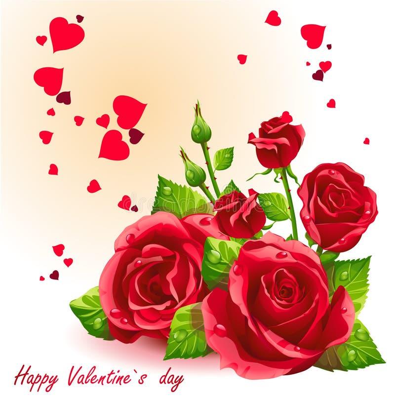Kort för valentin dag röd roses-EPS10 royaltyfri illustrationer