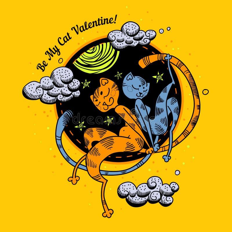 Kort för valentin för förälskelse för två katter färgrikt stock illustrationer